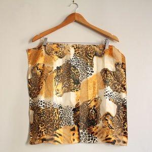 70s [Vintage] silk animal print square scarf